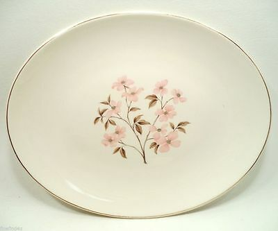 """KNOWLES PINK DOGWOOD by KALLA CHINA 12 5/8"""" OVAL SERVING PLATTER"""