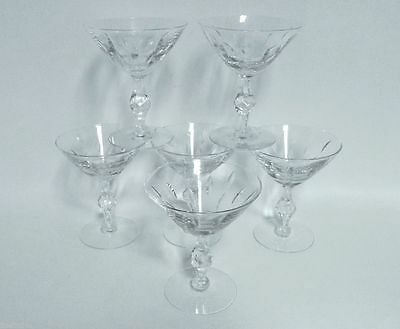 TIFFIN FRANCISCAN Theme 17644 CRYSTAL 6 CHAMPAGNE TALL SHERBET STEMS +3 FREE