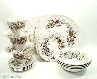 Vtg Summer Spray by Wood & Sons China Staffordshire 26 Pc Set Plates Cups Bowls