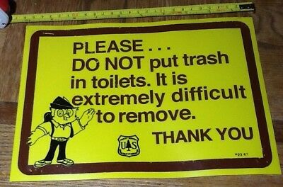US National Forest Service Sign Woodsy Owl Do Not Put Trash In Toilets