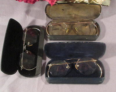 3 Pair Vintage Gold Filled Eyeglasses with Cases