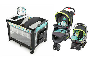 Baby Stroller Car Seat Play-yard Infant Bassinet Travel System Combo Set