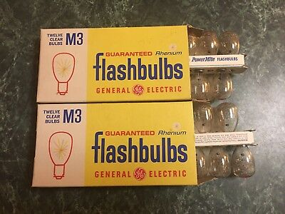 2 12 Pack NOS General Electric M3 Flashbulbs in Original Box