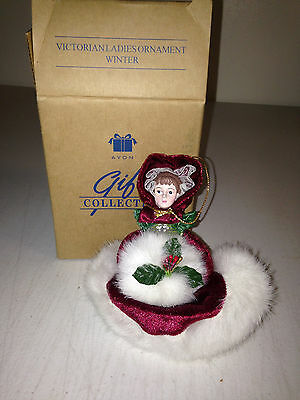 Avon  ornament victorian ladies winter NIB girl dress