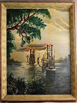 Antique 19th C. American Folk Art Oil Painting of Steamboats on Mississippi