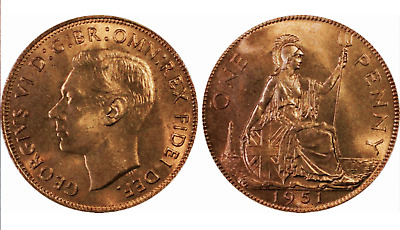 1951 Great Britain Penny - UK - George VI - PCGS MS64RD - RED BABY!