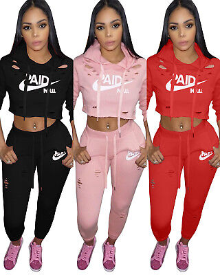 Fashion Women Hooded Print Long Sleeve Hole Bodycon Jumpsuit Romper Casual 2pcs