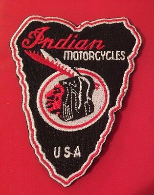 "Indian Motorcycle Embroidered ""arrow-Brave"" Patch 3"" Iron/sew Pristine!"