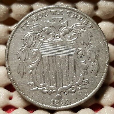1882/2 Shield Nickel RPD Repunched Date Great Details Early US Type Coin