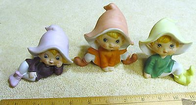 Vintage Set Of 3 Homco 5213 Porcelain Ceramic Santa's Elves Figurines