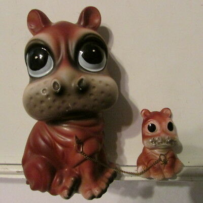 Vintage Ries Ceramic Mother and Baby Fiona Hippos Hippopotamus