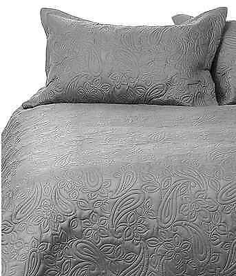 Bambury Paisley Charcoal Embossed Queen King Bed Coverlet Bedcover Set