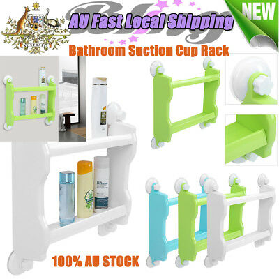 Double Tiers Strong Suction Cup Rack Wall Mount Storage Shelf Organizer Kitchen