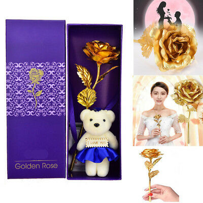 24K Dipped Gold Flower Rose Birthday Mother Valentine's Day Gift Floral Decor US