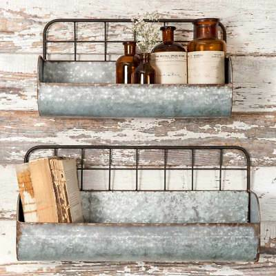 Rustic Primitive Style Metal Wire Back Wall Bins Planters Shelves Set of Two
