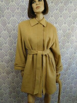 Aquascutum Womens Long Coat VTG 1986 Camel Hair Wool Blend Size 10 Spare Belt