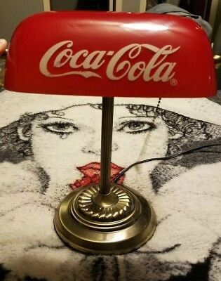 Vintage Coca Cola Bankers lawyers Desk Lamp With Glass Shade Light RARE HARD TO