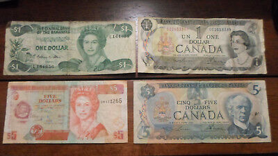 2 Canada $5 Bill Notes and 2 Candada $1 Bill Notes
