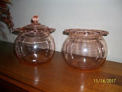 Lot Pink Depression Glass 2 Biscuit Cookie Jars With 1 Lid Lace Edge Open Lace