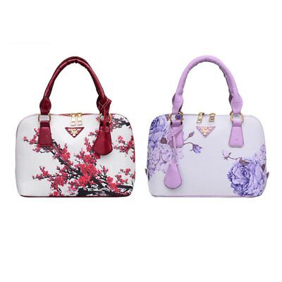 Spring Women PU Leather Handbag Speical Chinese Floral Printed Shell Bag W0