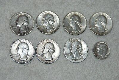 Lot of 8 SILVER COINS : 7 Silver Quarters and 1 Silver Dime -1964 and Older!