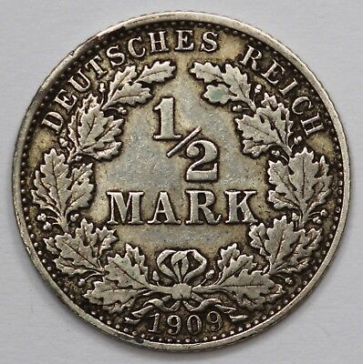 Germany (Empire) 1909 J Silver 1/2 Mark, Toned good Extremely Fine