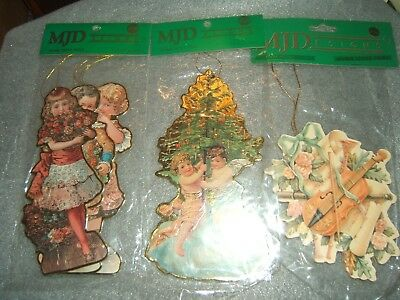 Great Vintage Mjd Design Victorian Style Images Die Cut Double Sided Christmas T