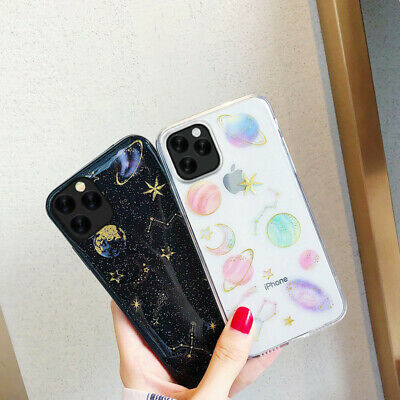 For iPhone 11 Pro Max Xs XR X 8 7 6 Cosmos Bling Glitter Star Planet Soft Case