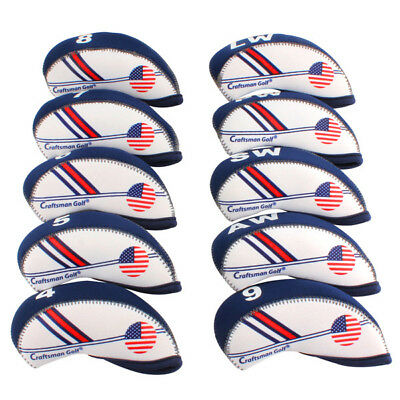 10PCS Golf 4#-Lw Iron Covers HeadCover For Taylormade SLDR M2 Ping Adams Mizuno