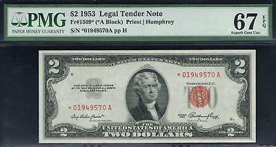 $2 1953 Legal Tender Star Note. Fr.1509*. PMG 67 EPQ. Very Tough Note.