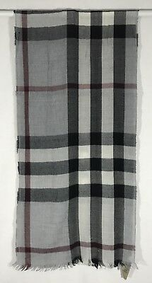 Burberry Lightweight Check Wool Cashmere Scarf Grey