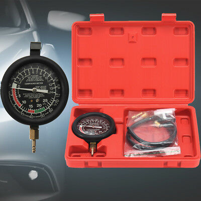 Fuel Pump Pressure Tester Kit & Engine Vacuum Gauge Leak Diagnostic Tool + Case