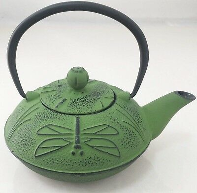 Green Dragonfly Cast Iron Japanese 'art Deco' Style Teapot