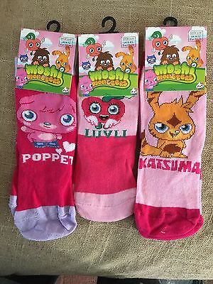 【 3 pairs 】Moshi Monster socks for girls 9-12 size  new with tag