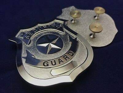 Security Guard / Officer Badge, Wallet ID, Metal With 3 Post Rear. Silver