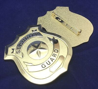 Security Guard / Officer Badge, Metal With Pin Rear, Gold