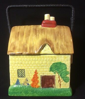 Vintage Art Deco Thatched Cottage House Colourful Biscuit Barrel Good Condition