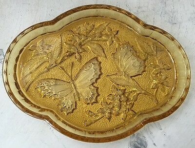 Vintage Art Deco Sowerby Butterfly Pressed Amber Glass Tray Lovely Original