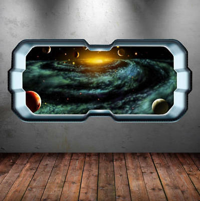 Full Color Space Wall Decal Sticker Mural Planet Galaxy Stars Earth Moon WSD262