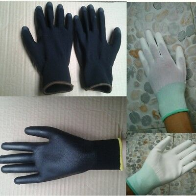 1/12/24 Pairs PU Nylon Safety Coating Work Gloves Builders Palm Protect ZP