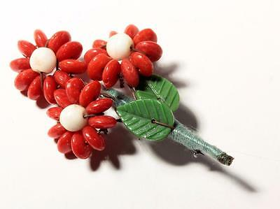 Czech vintage hand wired flower leaf red rondelle art glass beaded pin brooch