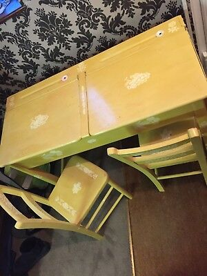 Vintage Childs Wooden Double Old School Desk with Chairs