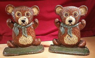 "Vintage 6.5"" Cast Iron Hand Sturdy Painted Teddy Bear Bookends/doorstops"