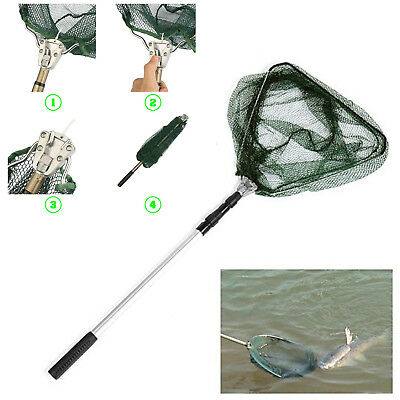Lightweight Fishing Landing Net Triangular Mesh Folding Handle Telescopic Pole