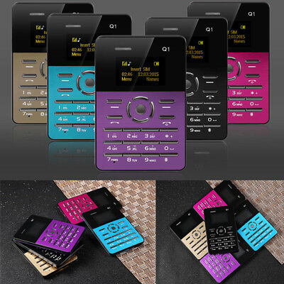 "AIEK Q1 Ultra Thin Credit Card Mobile Phone 1.0"" FM Calendar Alarm Calculator"