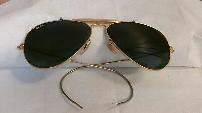Vintage B&L Ray Ban aviator sunglasses size 58-14 etched lens coil arm USA