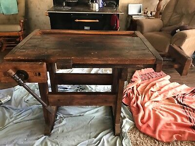 Antique 19th Century Carpenter's Workbench Kitchen Island Accent Table Rustic