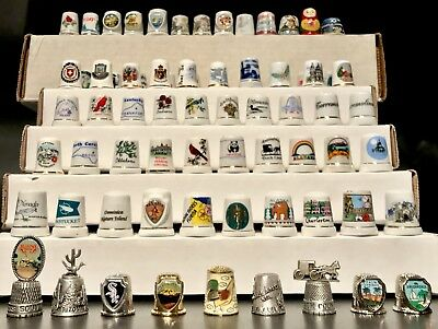 Vintage Lot of 72 Thimbles - Wood, Metal, Porcelain, Bone China HUGE MIXED