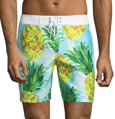 a66fe95ce7 MR TURK 'Malibu' Men's Pineapple Print Swim Trunks / Board Shorts 30