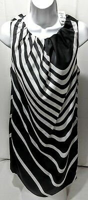 JOE FRESH Womens Dress M NWT Sheath Striped Shift Tunic Black Ivory Pockets